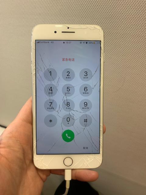 アイフォン7Plus ひび割れ