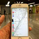 【iPhone6s】落下の衝撃でひび割れと滲みが(゚д゚)!すぐに修理してデータを守ろう!